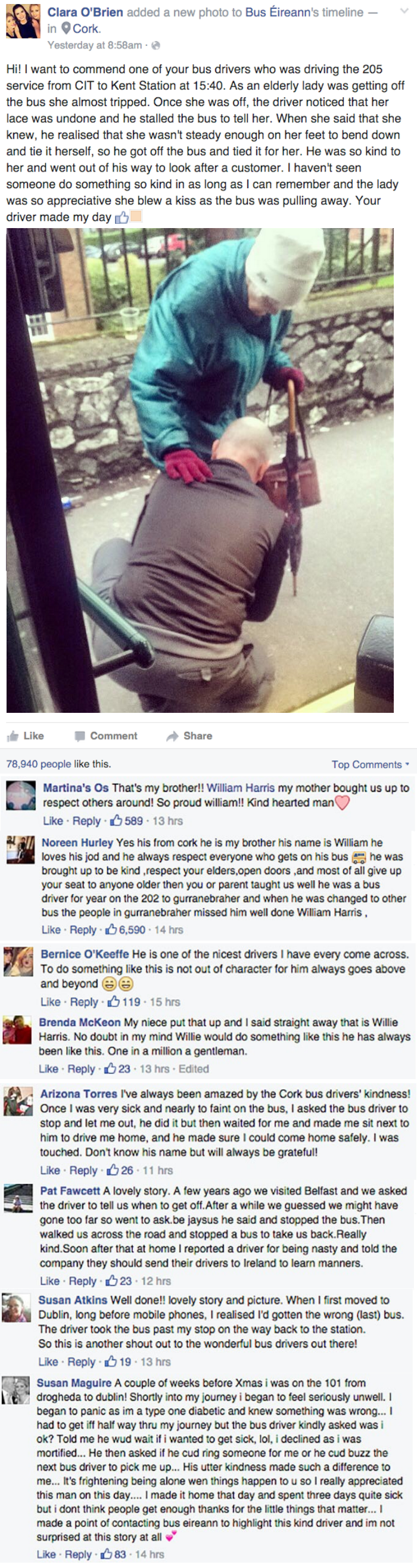 heartwarming facebook image bus driver in Cork Ireland tied old woman's shoes for her