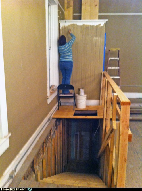 How To Paint Above A Stairwell