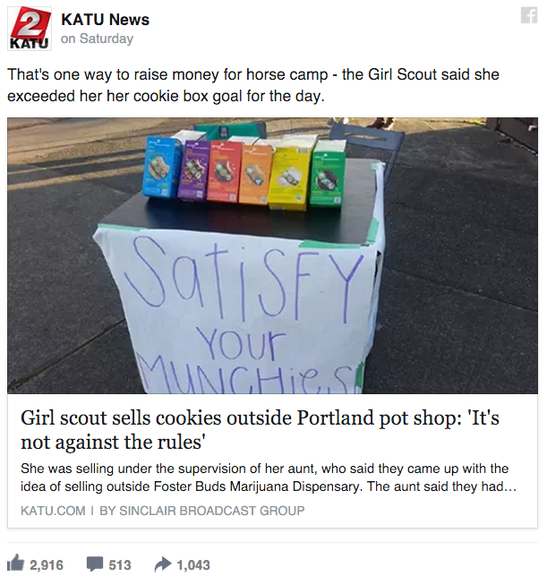 funny facebook image clever girl sells cookies in front of pot shop