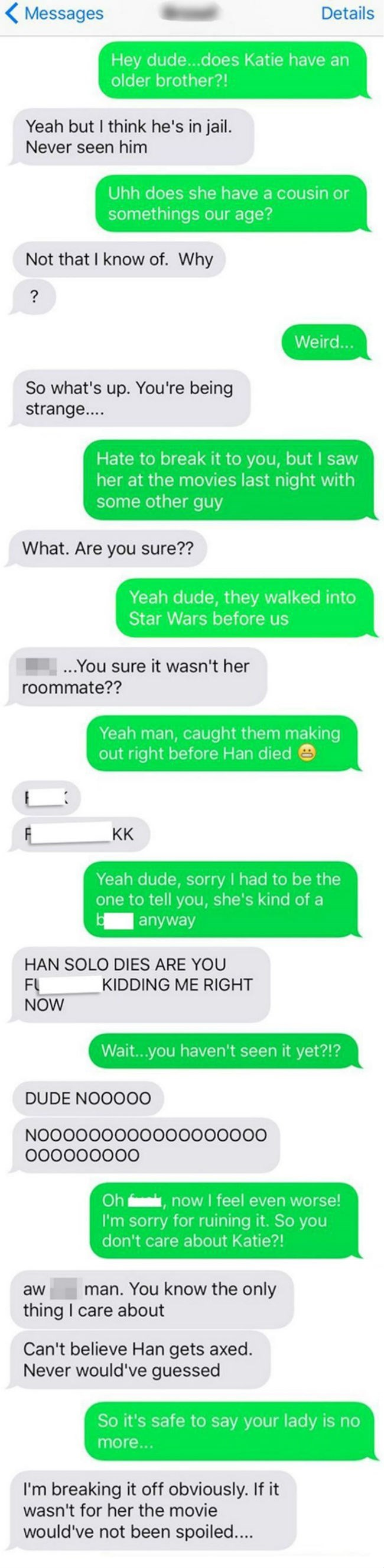 funny dating fail guy finds out girlfriend is cheating and gets star wars spoiled for him