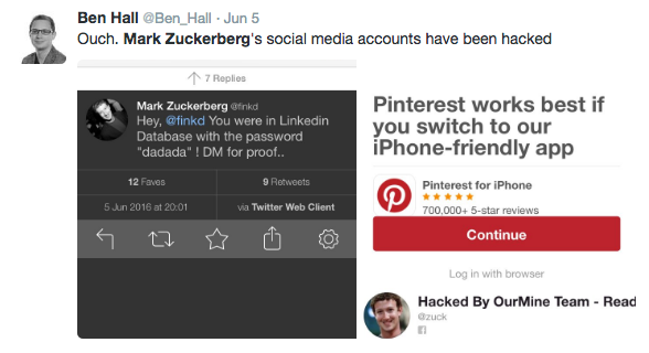 image hacking mark zuckerberg Someone Hacked Mark Zuckerberg's Social Media Accounts Because His Password Was Dumb