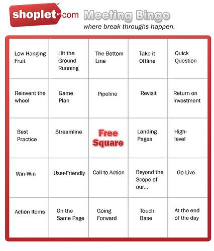 Shoplet.com Meeting Bingo