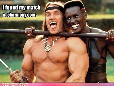 Arnold Schwarzenegger and Grace Jones