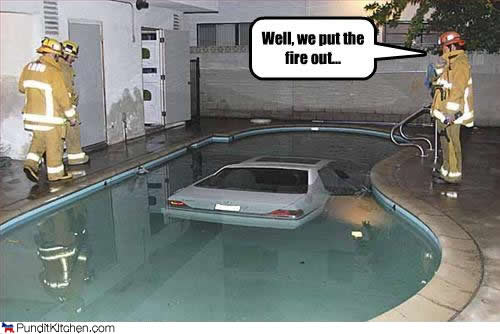 car crashed in swimming pool
