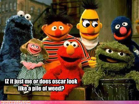 Cookie Monster, Prairie Dawn, Ernie, Elmo, Bert, Oscar the Grouch and Grover