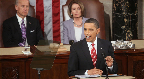 Barack Obama giving the State of the Union address