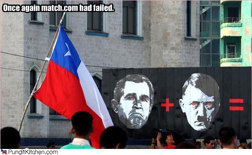 bush/hitler protest sign in chile