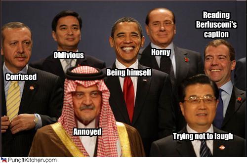 Recep Tayyip Erdoğan, Abhisit Vejjajiva, Prince Saud Al Faisal of Saudi Arabia, Barack Obama, Silvio Berlusconi, Hu Jintao and Dmitry Medvedev