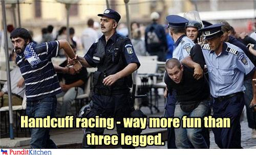 political pictures - Handcuff racing - way more fun than three legged.