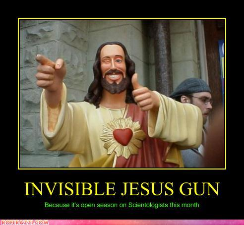 funny celebrity pictures - INVISIBLE JESUS GUN