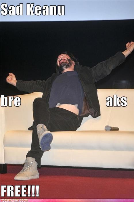 funny celebrity pictures - Sad Keanu bre                              aks FREE!!!