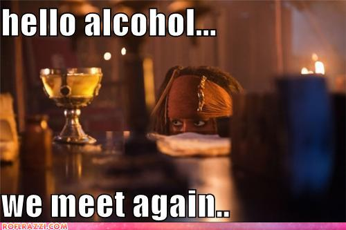 funny celebrity pictures - hello alcohol...  we meet again..