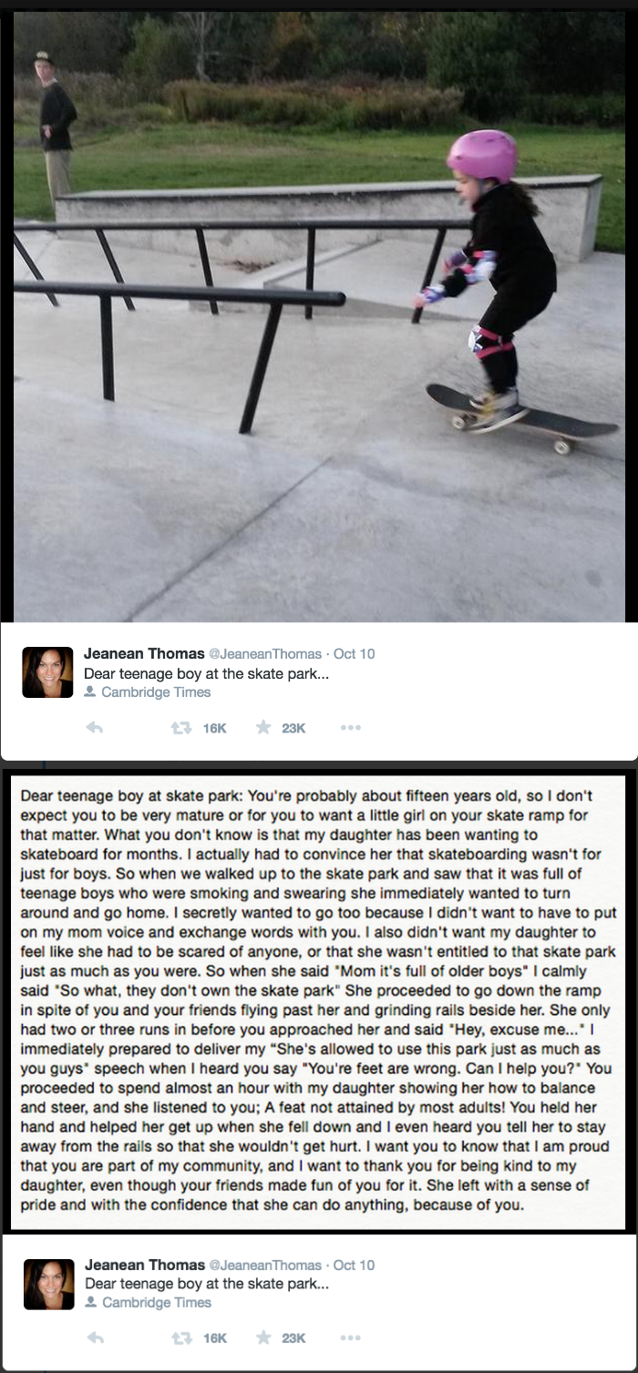 mother sends heartwarming thank you tweet to local teen that showed her daughter how to skateboard