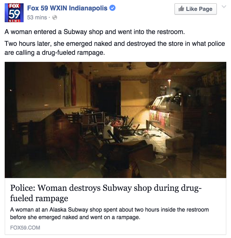 alaskan subway store gets wrecked by woman on drugs