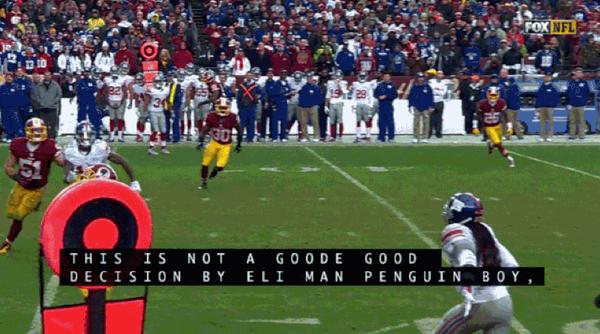 funny fail images FOX closed captioning gives NFL Eli Manning penguin boy nickname