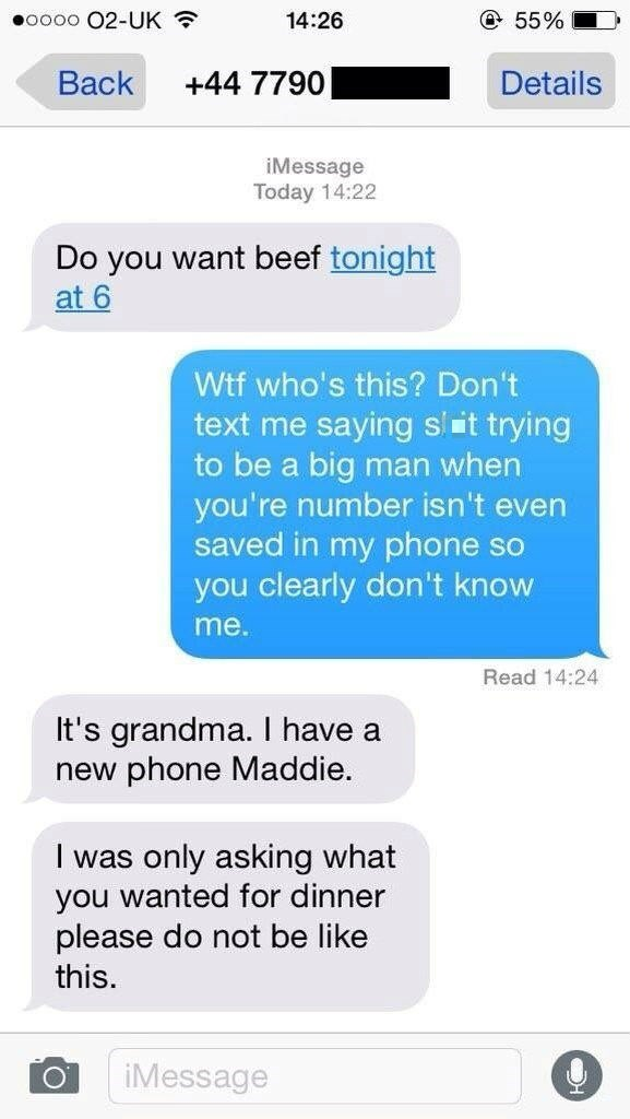 funny fail image granny texts about beef