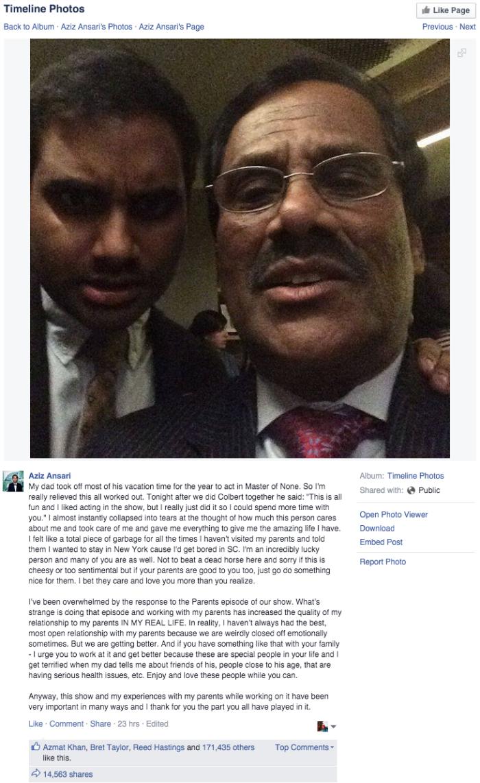social media Aziz Ansari writes heartwarming post about his father