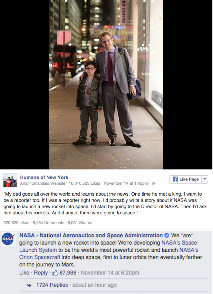 facebook cute Human of New York posts gets response from NASA
