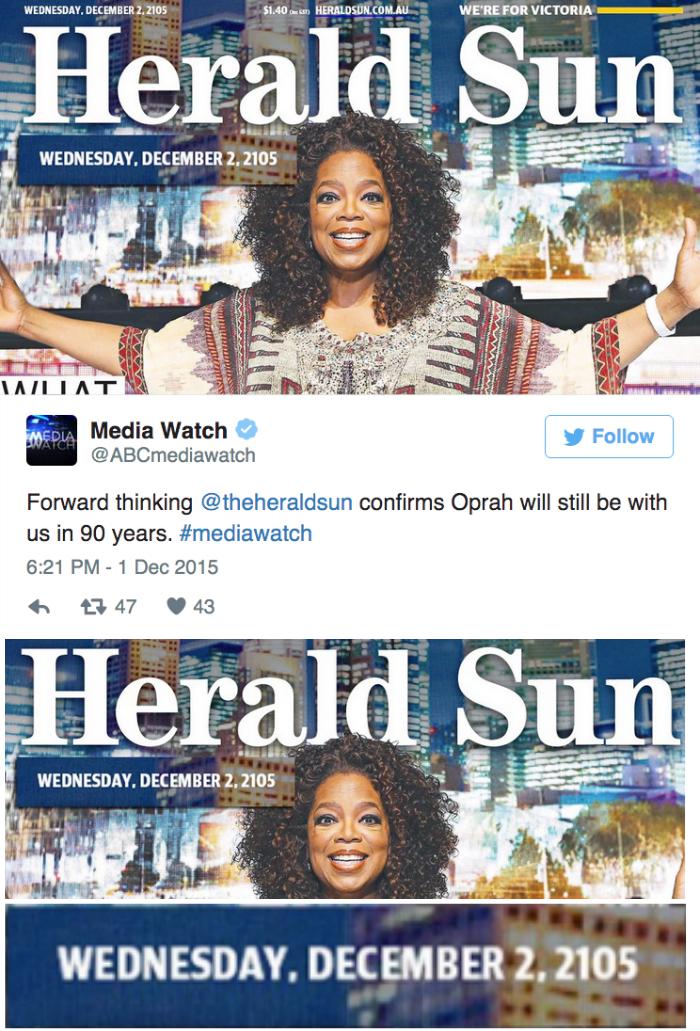 funny fail image Australian Magazine's Typo Predicts Oprah Immortality
