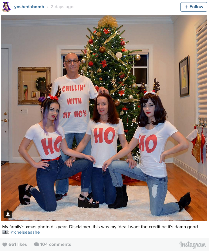 funny fail image family christmas card is full of hoes