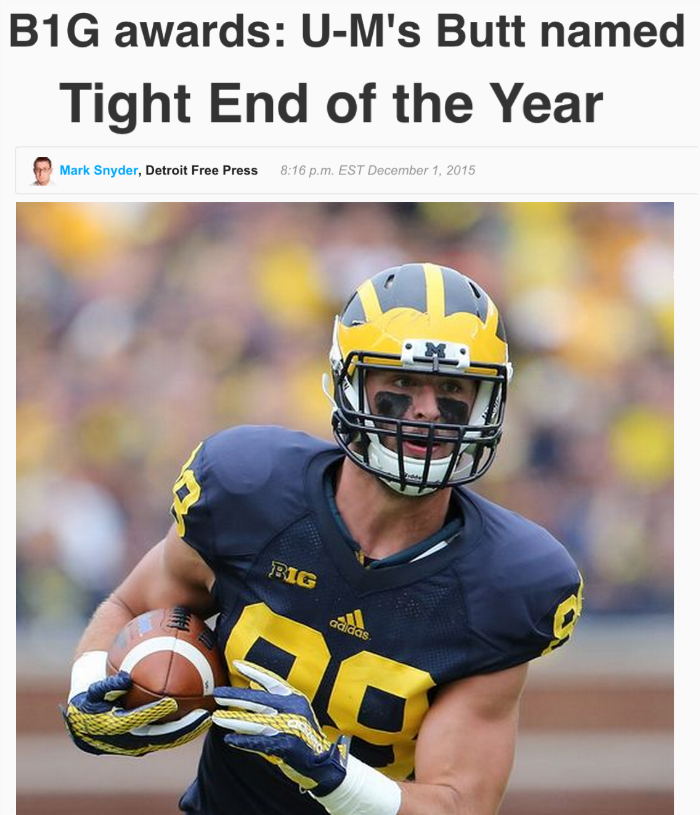 funny fail images UM football player Butt wins tight end award headline