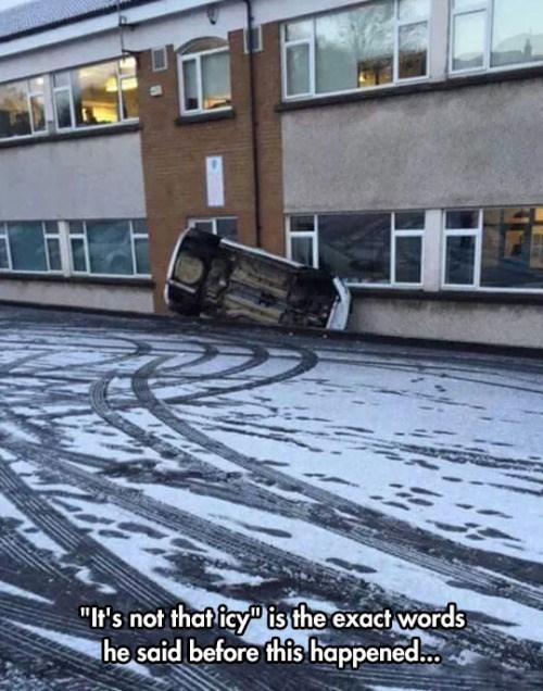 funny fail image icy road driving fail