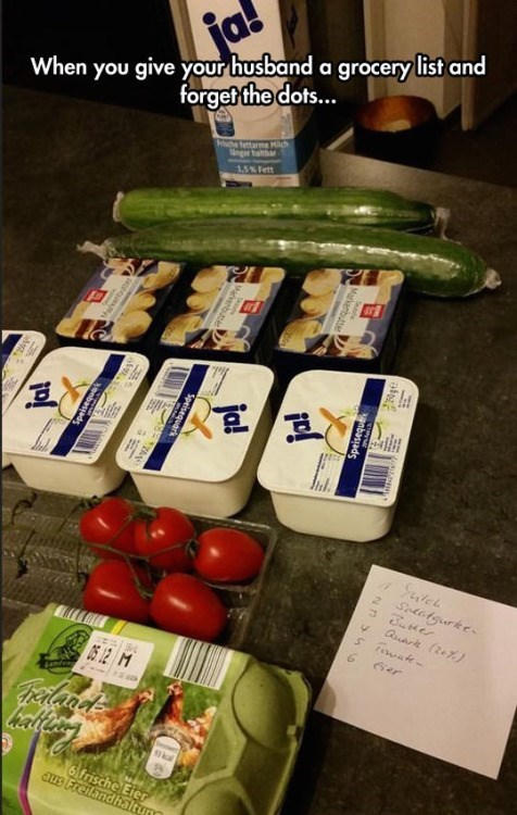 funny fail image husband goes grocery shopping
