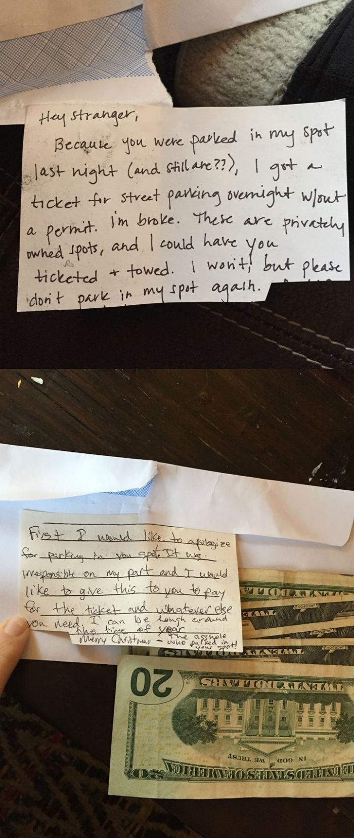 win stranger doesn't tow car and guy returns kindness by paying parking ticket