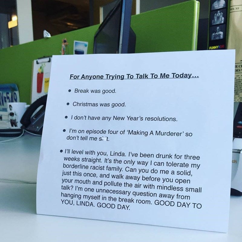funny new year back to work desk sign