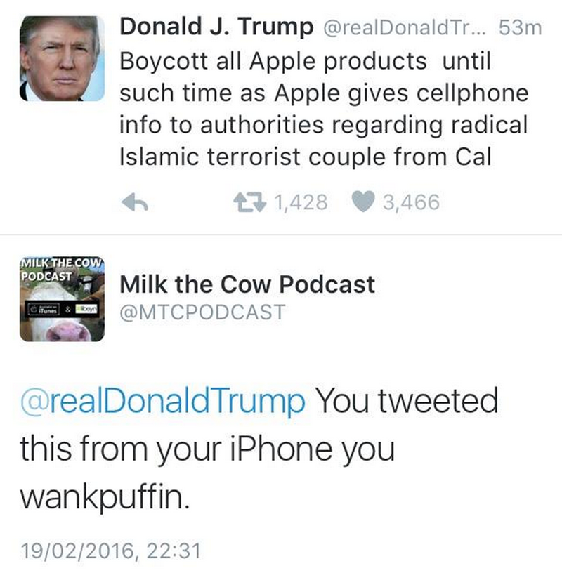 funny fail image Donal Trump tweets Apple boycott from iphone