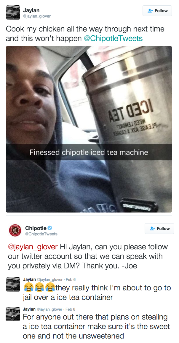 guy stole tea from chipotle over undercooked chicken