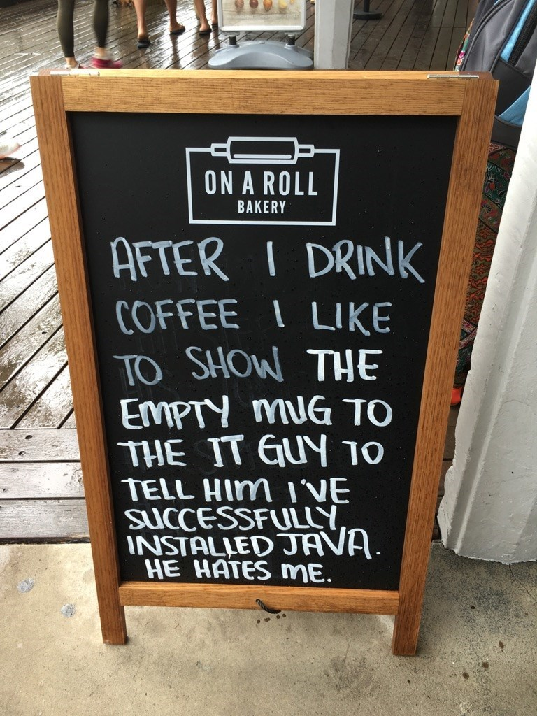 funny pun image IT coffee java sign joke