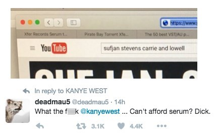 Kanye West, Enemy of Pirate Bay, Caught Using Pirate Bay to