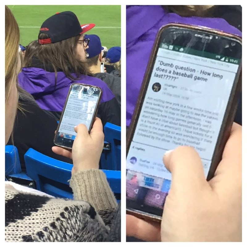 funny fail image girl googles how long baseball games are at baseball game