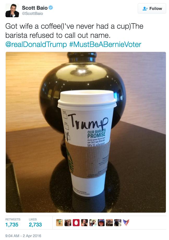 political tweet Scot Baio didn't know starbucks is a liberal company