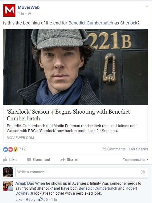 acting,facebook,Sherlock,avengers