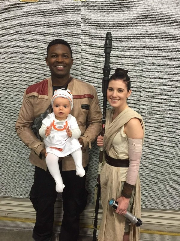 star wars cosplay finn rey and baby bb 8