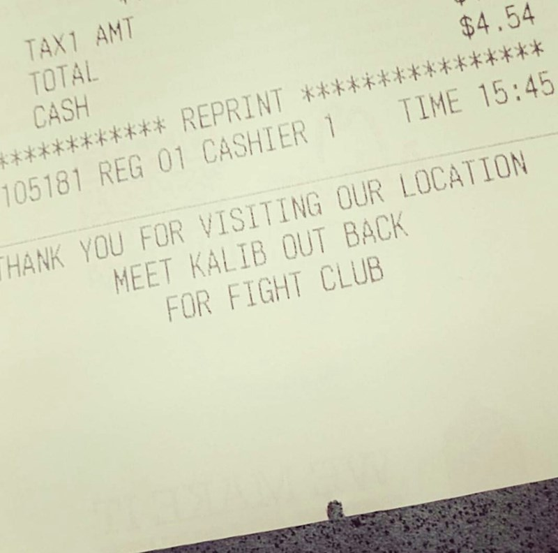 win fight club invitation at the bottom of receipt