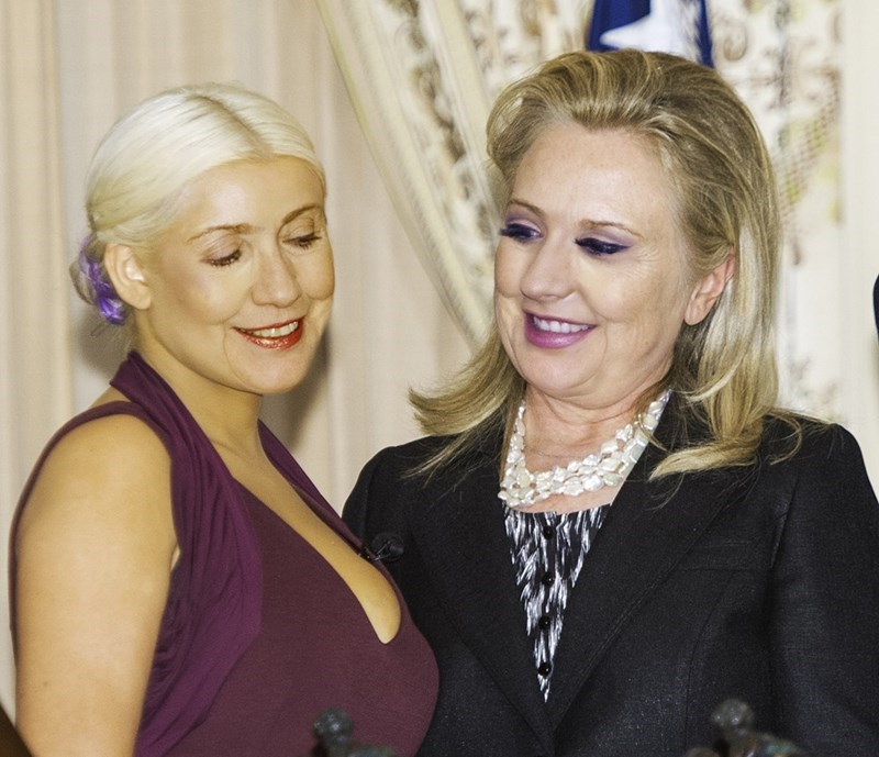 list,christina aguilera,Hillary Clinton,photoshop battle,image