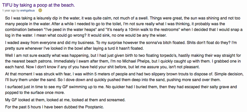 redditor tells story about pooping at the beach