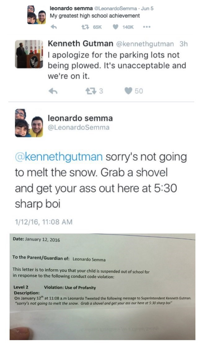 image trolling school Teen Suspended for Trolling His Superintendent on Twitter Goes Viral